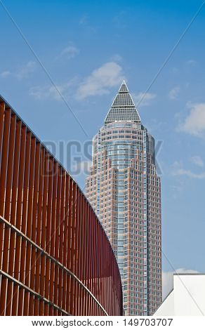 FRANKFURT, GERMANY - SEPTEMBER 23, 2016: Messeturm on the site of the frankfurt fairground