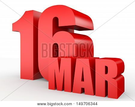 March 16. Text On White Background.
