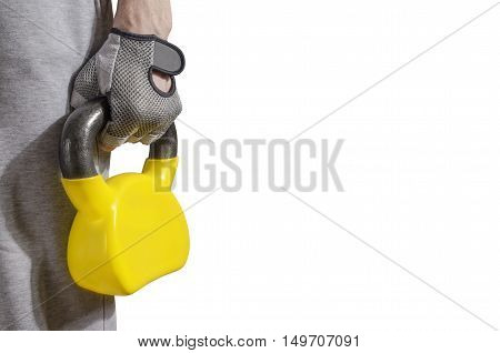 Man with training equipment isolated on white background