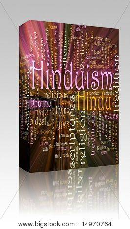 Software package box Word cloud concept illustration of  Hinduism religion glowing light effect