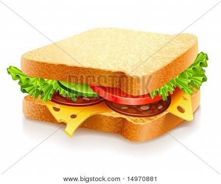 Appetizing Sandwich With Cheese Sausage And Vegetables