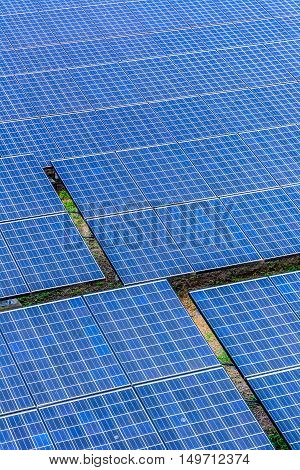 Vertical shot Solar cell panel on the ground