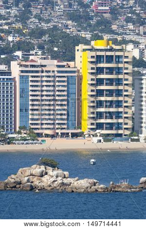 A view of skyscrapers at riviera of Acapulco Mexico.