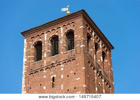 Detail of the bell tower of the famous and ancient basilica of Saint Ambrose (Sant'Ambrogio 379-1099) in Milano Lombardia Italy