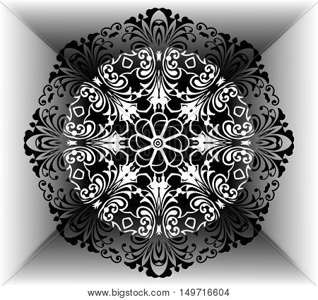 Plinth for t-shirts, vector. hand painted mandala ethnic floral pattern. Abstract flower mandala. Decorative elements for design
