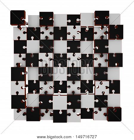Jigsaw puzzle.Chess board.Isolated on white background.Disconnected puzzle.3D rendering illustration.