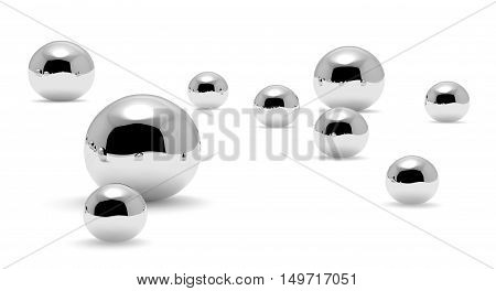 Small shiny mercury (Hg) metal drops and droplets of toxic mercury chemical element metal liquid isolated on white background closeup view 3d illustration