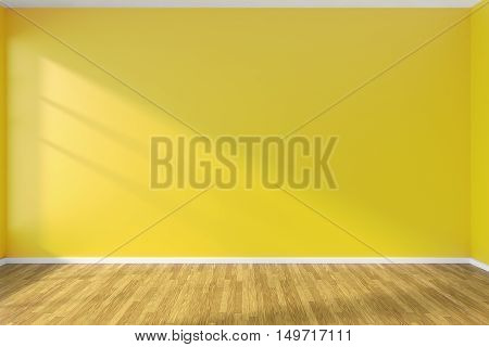Yellow wall of empty room with hardwood parquet floor and sunlight from window on the wall minimalist interior 3d illustration