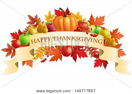 illustration of Thanksgiving celebration banner with maple leaf, apples, pumpkin