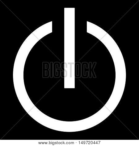 Symbol of an on-off switch of electrical equipment.