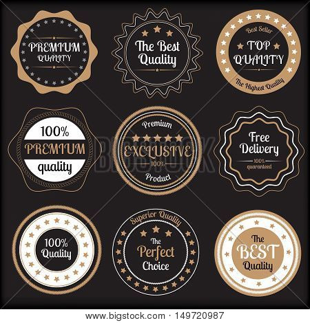 Set of beige and white premium quality badges on black background vector illustration