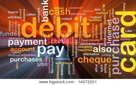Software package box Word cloud concept illustration of debit card