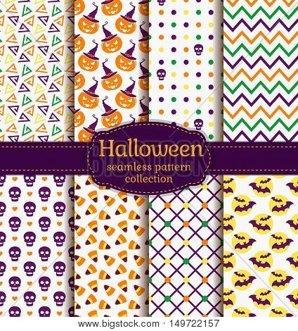 Happy Halloween! Set of seamless backgrounds with pumpkins skulls candy corn bats and abstract geometric patterns. Vector collection in white purple orange yellow and green colors.