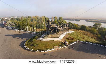 Rostov - on - Don, Russia - October 01, 2016: Civil War Monument, established in Rostov-on-Don. Aerial view.