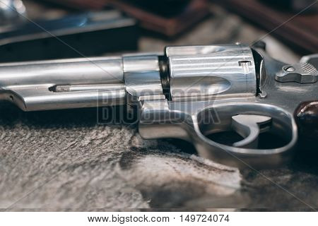 Closeup of powerful handgun. Pistol Revolver Handgun