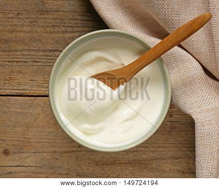 homemade organic sour cream in a bowl