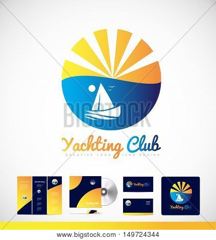 Yacht boat sailing sun vector logo icon sign design corporate identity set cd brochure business card