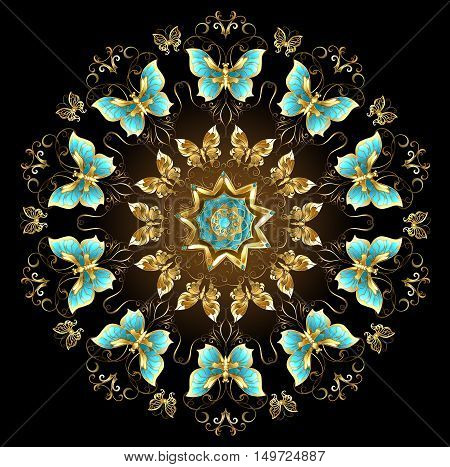 Mandala of gold and turquoise butterflies on a black background. Design with butterflies. Golden Butterfly. Gold mandala