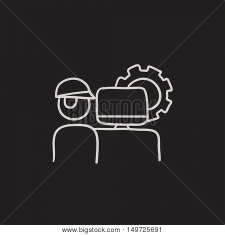 Computerized production vector sketch icon isolated on background. Hand drawn Computerized production icon. Computerized production sketch icon for infographic, website or app.
