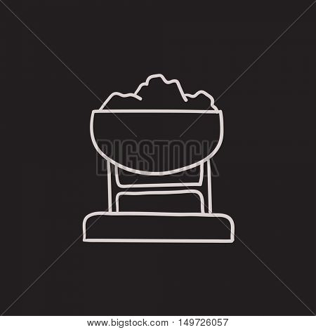 Mine trolley full of coal vector sketch icon isolated on background. Hand drawn Mine trolley full of coal icon. Mine trolley full of coal sketch icon for infographic, website or app.