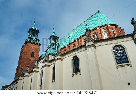 Towers and statues of the Basilica Archdiocese of Gniezno