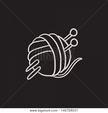 Threads for knitting with spokes vector sketch icon isolated on background. Hand drawn Threads for knitting with spokes icon. Knitting sketch icon for infographic, website or app.