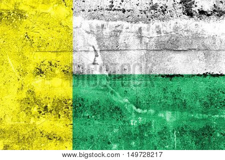 Flag Of Zielona Gora, Poland, Painted On Dirty Wall