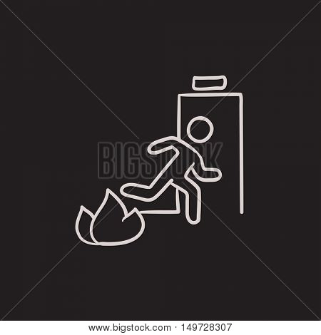 Emergency fire exit door vector sketch icon isolated on background. Hand drawn Emergency fire exit door icon. Emergency fire exit door sketch icon for infographic, website or app.