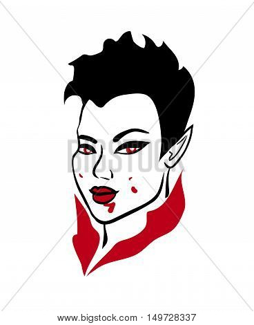 3-color vector illustration of seductive asian vampire demon girl with red eyes stylish short haircut and blood splashes on her face isolated on white background graphic element for halloween design