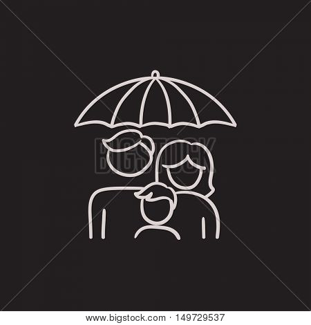 Family insurance vector sketch icon isolated on background. Hand drawn Family insurance icon. Family insurance sketch icon for infographic, website or app.