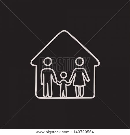 Family house vector sketch icon isolated on background. Hand drawn Family house icon. Family house sketch icon for infographic, website or app.
