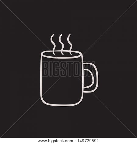 Mug of hot drink vector sketch icon isolated on background. Hand drawn Mug of hot drink icon. Mug of hot drink sketch icon for infographic, website or app.