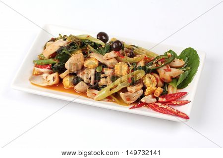 Chinese Vegetable festival  food as fried basil with mixed vegetables is food for Chinese Vegetable festival of Chinese as