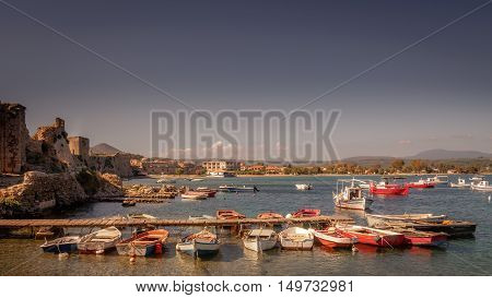The Harbour view of Methoni in Greece