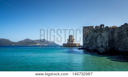 A view of the ancient Methoni castle in Greece