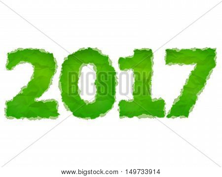 New Year 2017 of crumpled paper isolated on white background. Green Paper year number with torn edge. Vector design element for new years day christmas winter holiday new years eve silvester etc