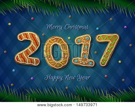 Card of New Year 2017 in shape of gingerbread. Cookies with pine branches on striped background. Vector design element for new years day christmas winter holiday new years eve silvester etc