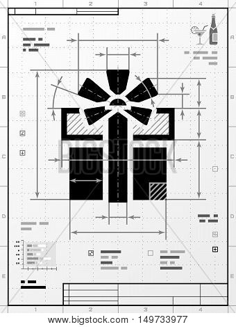 Gift symbol as technical drawing. Stylized drafting of gift box with title block. Qualitative vector illustration for holiday packaging supplies congratulation gift wrapping packaging etc