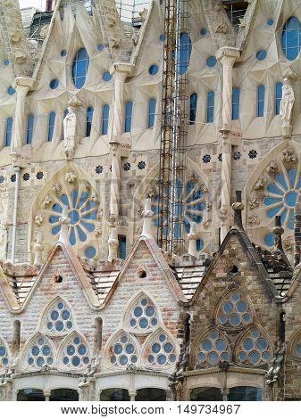 05.07.2016 Barcelona Spain: Sagrada Familia church architecture decoration detail.