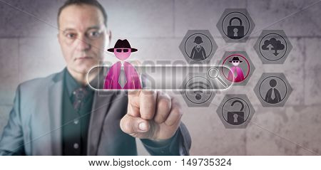 Financial services professional falling victim to a Man-in-the-Browser attack. Computer security concept involving internet fraud hacking social engineering trojan horse and web security exploits.