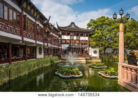 Shanghai China - October 26 2013: Yu Garden or Yuyuan Garden Shanghai's landmark with heritage building architecture Shanghai China.