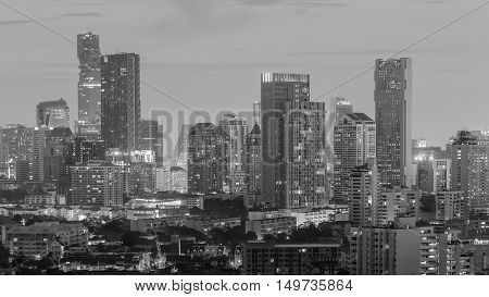 Black and White, City office building and residence area night view