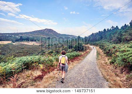 Images of Camino de Santiago and surroundings, the epilogue between Santiago and Finisterre. La Coruna, Spain