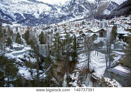 SWITZERLAND, SAAS-FEE, DECEMBER, 26, 2015 - View of one of the most popular ski resort of Saas-Fee is located in the south of Switzerland, near mount Valpelline. He was surrounded by thirteen peaks over 4,000 meters high.