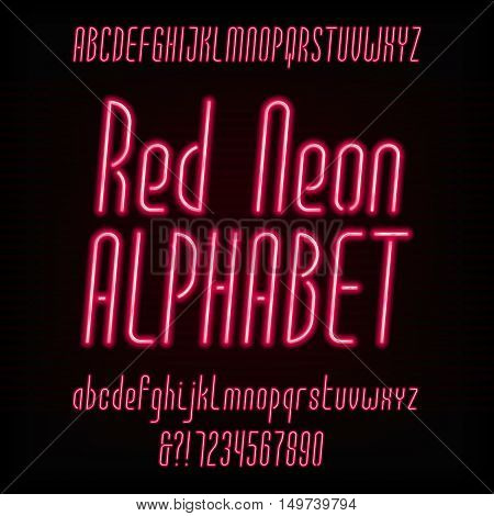 Red neon typeface. Modern oblique alphabet. Uppercase and lowercase letters and numbers. Vector font for your design.