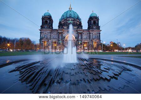 Berlin Germany: the Cathedral illuminated at dusk