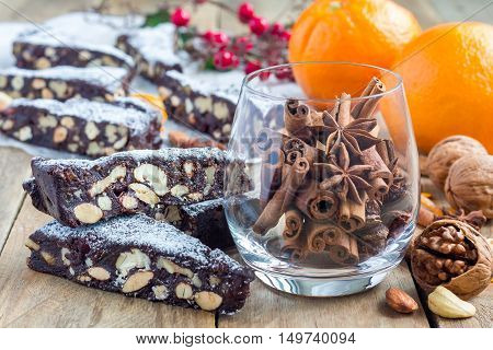 Panforte traditional italian christmas dessert with nuts and candied fruits horizontal