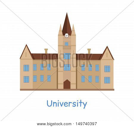 University building isolated on white in flat style. Modern building for students. Higher educational level. Vector