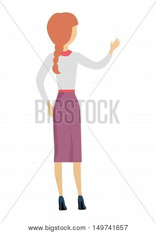 Woman character illustration in flat design. Female standing backwards with raised hand. Human pose template for taking thing from shelve, writing on desk, speaking act. Isolated on white.