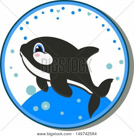sticker with a picture of a baby killer whale print. vector illustration